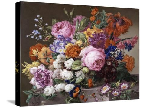 Corbeille de fleurs peintes au naturel-Joseph Nigg-Stretched Canvas Print