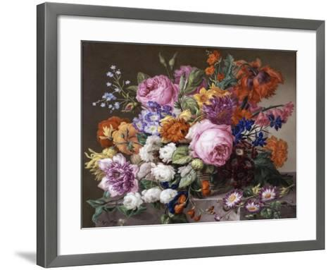 Corbeille de fleurs peintes au naturel-Joseph Nigg-Framed Art Print