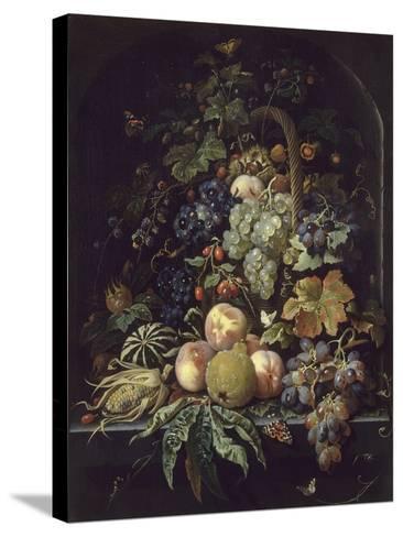 Panier de fleurs, fruits et insectes dans une niche-Abraham Mignon-Stretched Canvas Print