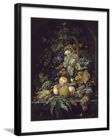 Panier de fleurs, fruits et insectes dans une niche-Abraham Mignon-Framed Art Print