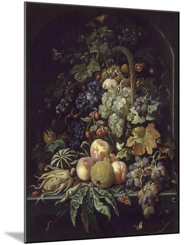 Panier de fleurs, fruits et insectes dans une niche-Abraham Mignon-Mounted Giclee Print