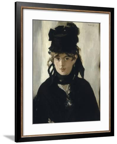 Berthe Morisot au bouquet de violettes-Edouard Manet-Framed Art Print