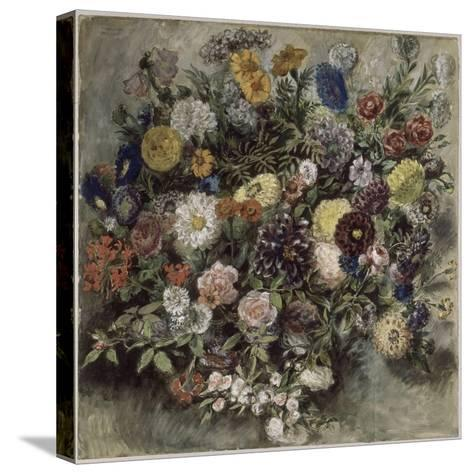 Bouquet de fleurs-Eugene Delacroix-Stretched Canvas Print