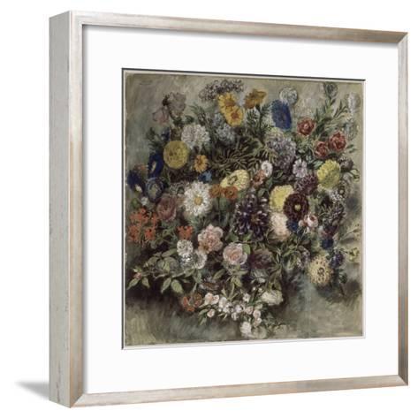 Bouquet de fleurs-Eugene Delacroix-Framed Art Print