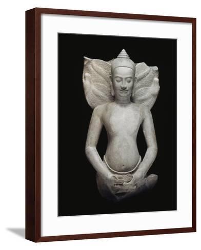 Buddha protégé par le naga--Framed Art Print