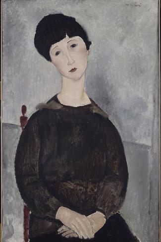 Jeune fille brune, assise-Amedeo Modigliani-Stretched Canvas Print