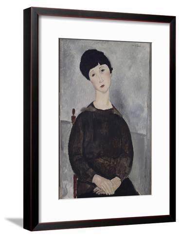 Jeune fille brune, assise-Amedeo Modigliani-Framed Art Print