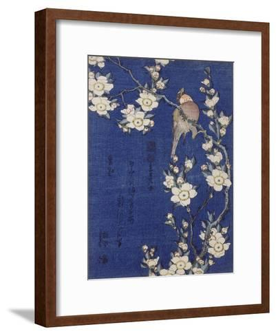 Bouvreuil et cerisier pleureur en fleur-Katsushika Hokusai-Framed Art Print