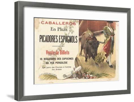 Caballeros en plaza, picadores espagnols--Framed Art Print