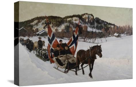 Enterrement d'un marin à la campagne en Norvège-Nils Gustav Wentzel-Stretched Canvas Print