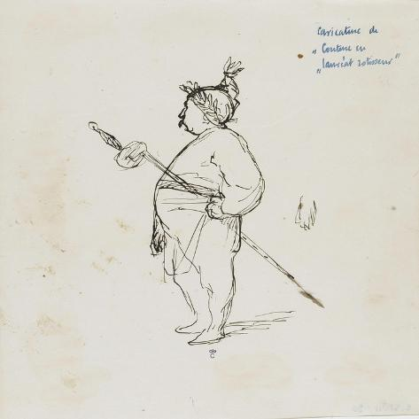 Caricature de Thomas Couture par lui-même au cours d'un repas en compagnie de M.Dugleré-Thomas Couture-Stretched Canvas Print