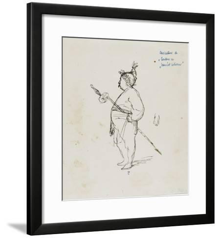 Caricature de Thomas Couture par lui-même au cours d'un repas en compagnie de M.Dugleré-Thomas Couture-Framed Art Print