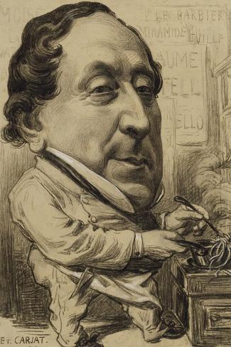 Portrait-charge de Gioachino-Antonio Rossini (1792-1868), compositeur, en cuisinier-Etienne Carjat-Stretched Canvas Print