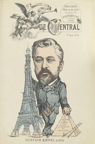 """Caricature de Gustave Eiffel, parue dans """"le Central""""--Stretched Canvas Print"""