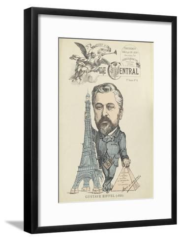 """Caricature de Gustave Eiffel, parue dans """"le Central""""--Framed Art Print"""