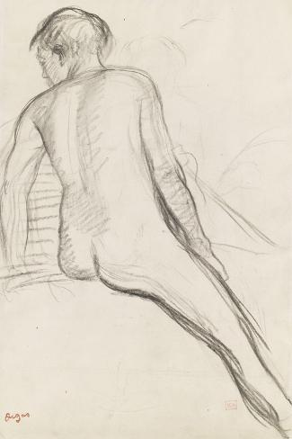 Cavalier nu-Edgar Degas-Stretched Canvas Print