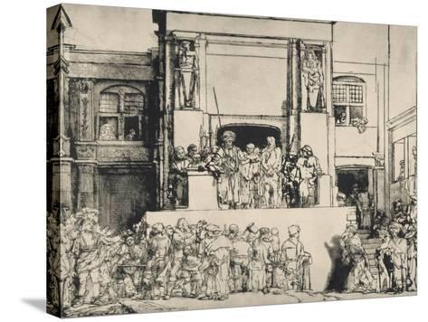"""Le Christ présenté au peuple, dit """"en largeur""""; 3ème état-Rembrandt van Rijn-Stretched Canvas Print"""