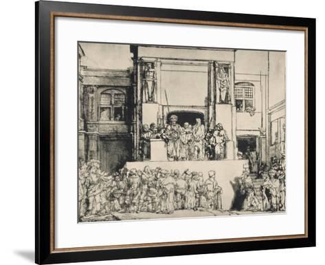 """Le Christ présenté au peuple, dit """"en largeur""""; 3ème état-Rembrandt van Rijn-Framed Art Print"""