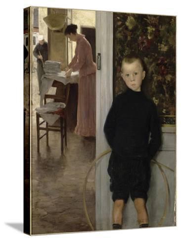 Enfant et femme dans un intérieur-Paul Mathey-Stretched Canvas Print