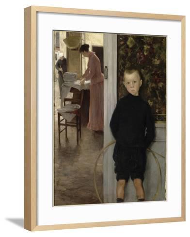 Enfant et femme dans un intérieur-Paul Mathey-Framed Art Print