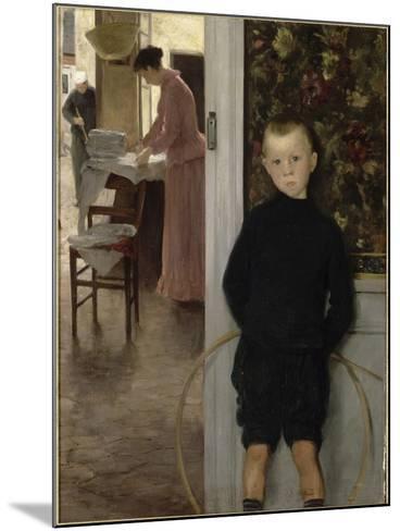 Enfant et femme dans un intérieur-Paul Mathey-Mounted Giclee Print