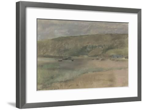 Falaises au bord de la mer : plage de Beuzeval-Edgar Degas-Framed Art Print