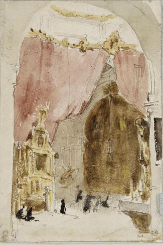 Intérieur d'une église à Cordoue-Eugene Delacroix-Stretched Canvas Print