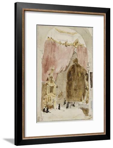 Intérieur d'une église à Cordoue-Eugene Delacroix-Framed Art Print
