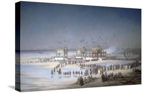 Cérémonie d'inauguration du canal de Suez à Port-Saïd, le 17 novembre 1869.-?douard Riou-Stretched Canvas Print