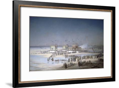 Cérémonie d'inauguration du canal de Suez à Port-Saïd, le 17 novembre 1869.-?douard Riou-Framed Art Print