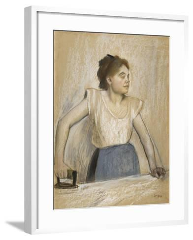 La repasseuse-Edgar Degas-Framed Art Print