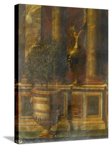 Janvier, signe du Verseau : représentation d'un opéra de Psyché devant la colonnade du Louvre-Charles Le Brun-Stretched Canvas Print