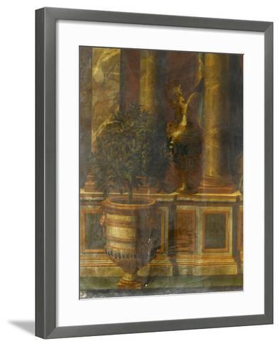 Janvier, signe du Verseau : représentation d'un opéra de Psyché devant la colonnade du Louvre-Charles Le Brun-Framed Art Print