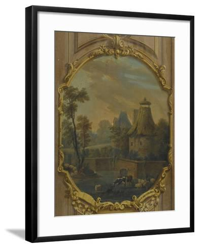Landscape with Cattle Crossing a Stream and Shepherd--Framed Art Print
