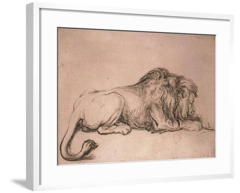Lion couché rongeant un os-Rembrandt van Rijn-Framed Art Print