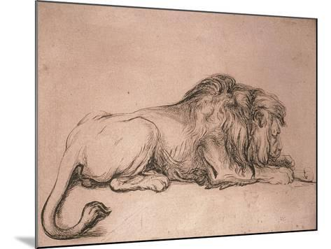 Lion couché rongeant un os-Rembrandt van Rijn-Mounted Giclee Print