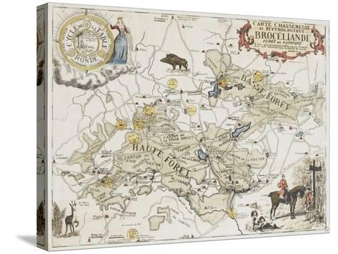 Carte chasseresse et mythologique de Brocéliande, forêt de Paimpont--Stretched Canvas Print