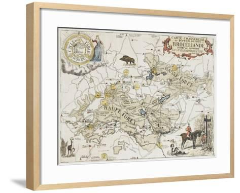Carte chasseresse et mythologique de Brocéliande, forêt de Paimpont--Framed Art Print