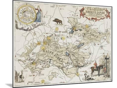 Carte chasseresse et mythologique de Brocéliande, forêt de Paimpont--Mounted Giclee Print