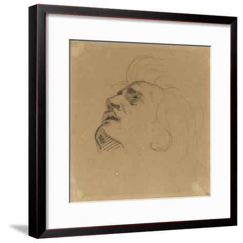 Tête d'homme renversé en arrière-Eugene Delacroix-Framed Art Print