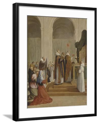 Messe de saint Martin, évêque de Tours-Eustache Le Sueur-Framed Art Print