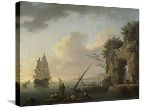 Marine par temps calme. Effet de soleil couchant-Claude Joseph Vernet-Stretched Canvas Print