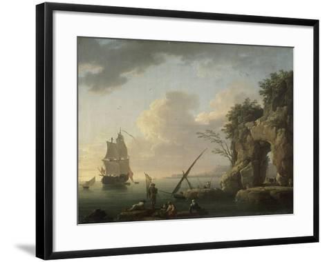 Marine par temps calme. Effet de soleil couchant-Claude Joseph Vernet-Framed Art Print