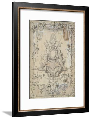 Medallion Topped with a Crown Surrounded by Arabesque-Claude Gillot-Framed Art Print
