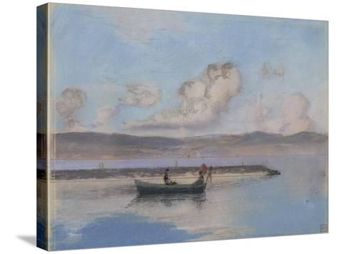 Marine: Boat Green in the Foreground with Two Figures-Charles Cottet-Stretched Canvas Print
