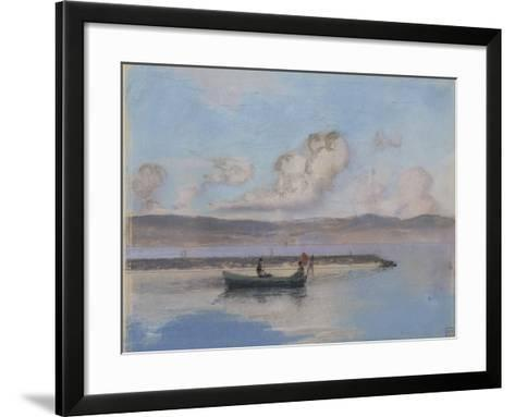 Marine: Boat Green in the Foreground with Two Figures-Charles Cottet-Framed Art Print