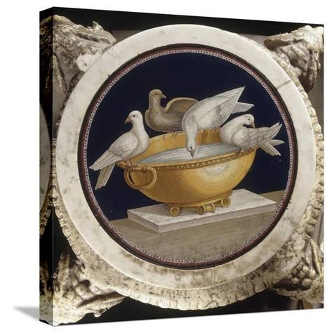 Mosaïque aux colombes sur un bassin--Stretched Canvas Print