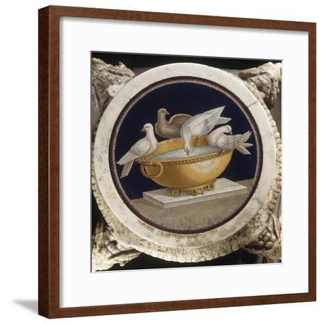 Mosaïque aux colombes sur un bassin--Framed Art Print