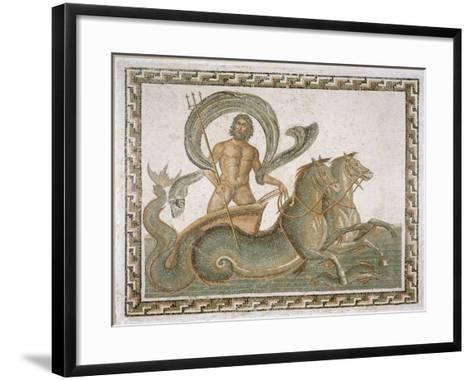 """Mosaïque """"Le triomphe de Neptune"""" en médaillon central avec 56 médaillons autour--Framed Art Print"""