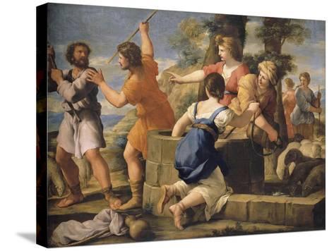 Moïse et les filles de Jethro-Giovanni Francesco Romanelli-Stretched Canvas Print